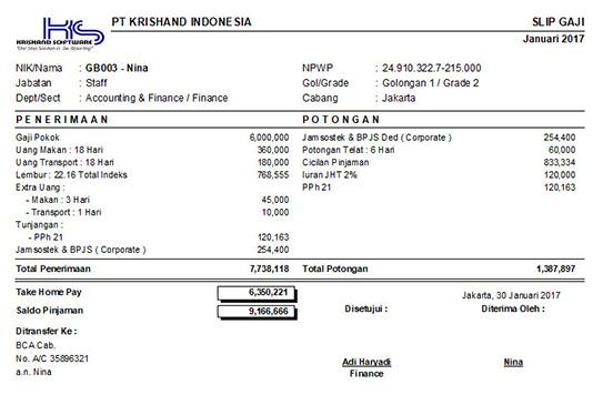 Slip Gaji Output dari Krishand Payroll
